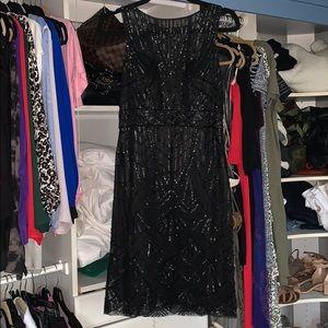Sue Wong black sequin cocktail dress